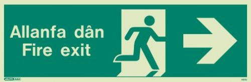 (480UR) Jalite Welsh Fire Exit Progress Right Sign Allanfa Dan right sign